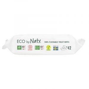 Eco by Naty Ekološki negovalni robčki za občutljivo kožo   Sensitive   Neodišavljeni   Mini Flushable