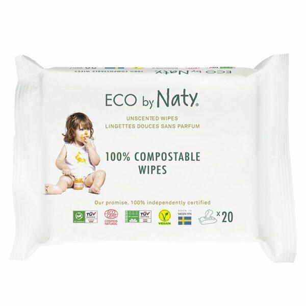 Eco by Naty Ekološki negovalni robčki za občutljivo kožo   Sensitive   Neodišavljeni   Mini potovalni