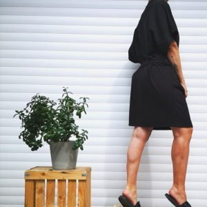 Lanabe Ženska obleka Hedonist Oversize   Črna