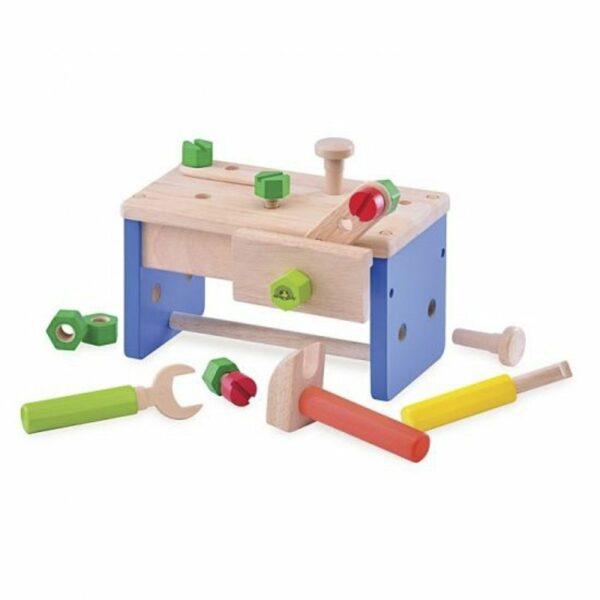 Wonderworld Lesena mizica in kovček z orodjem   2 v 1   Večja