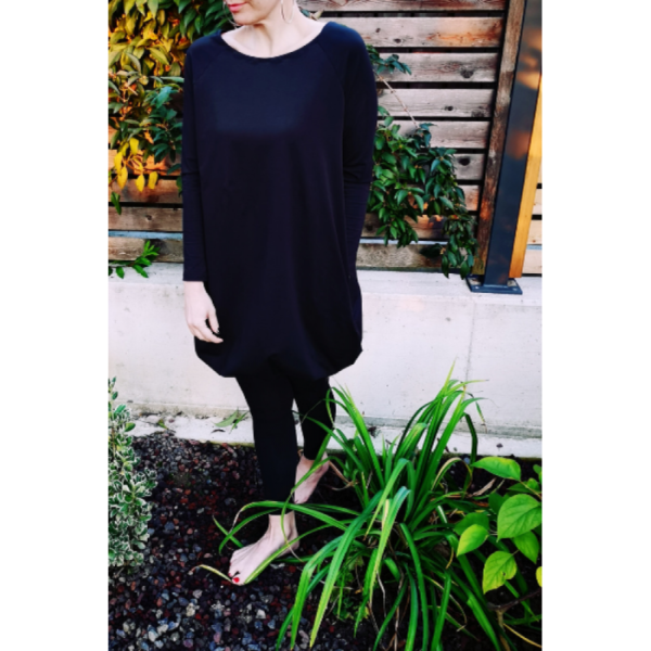 Lanabe Ženska comfy obleka balon | Dolg rokav | Črna