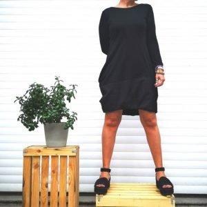 Lanabe Ženska obleka Hedonist Happy | 3/4 rokavi | Črna